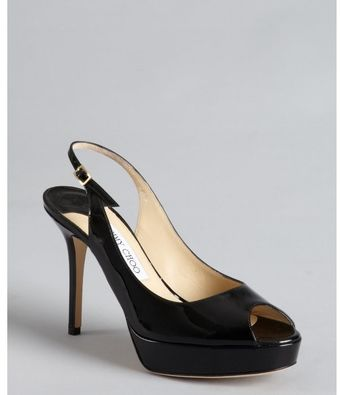 Jimmy Choo Black Patent Leather Peep Toe Slingback Moon Pumps - Lyst