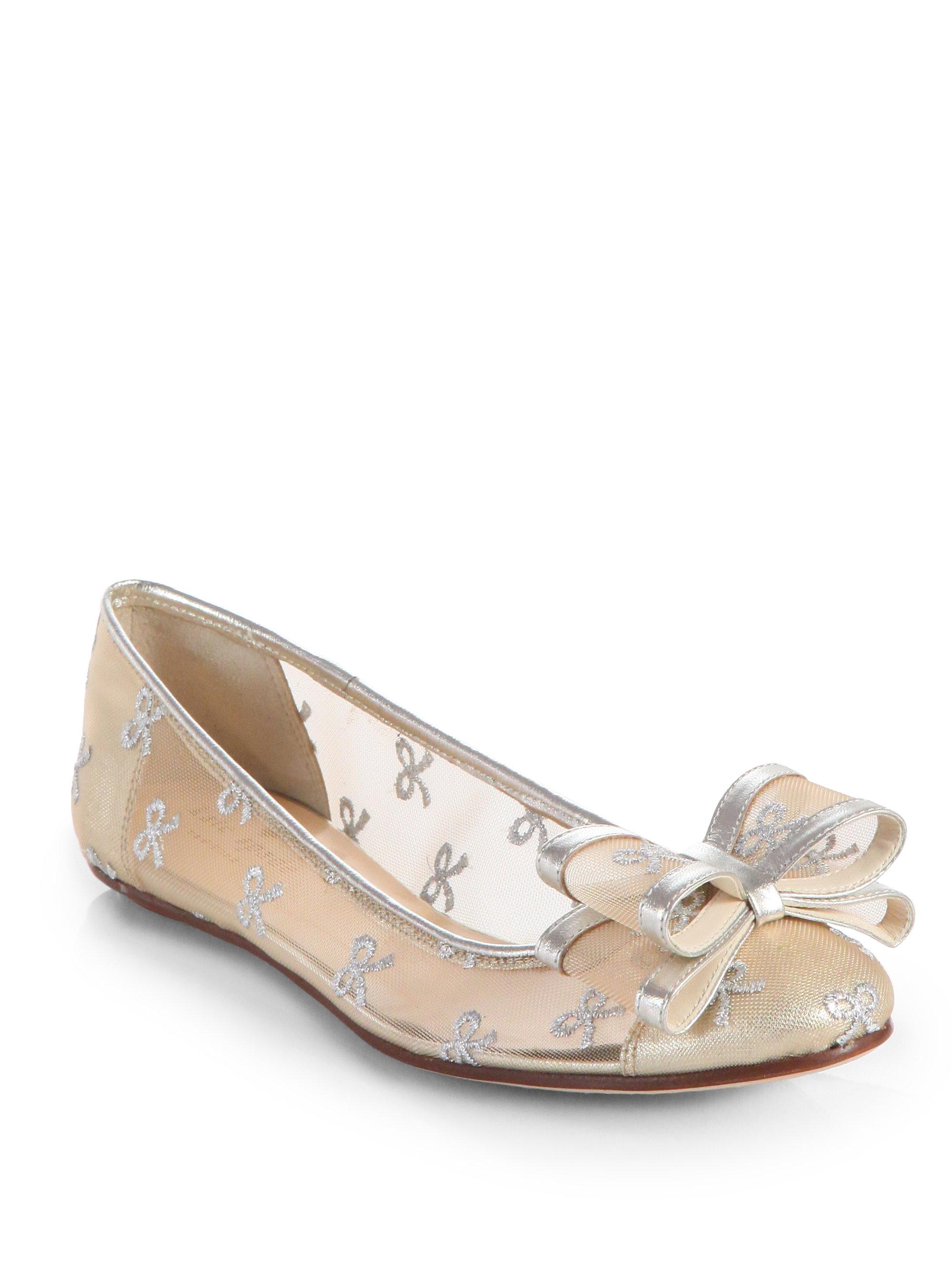 c4b47b7fff7 Lyst - Kate Spade Bernice Mesh Leather Bow Ballet Flats in Metallic