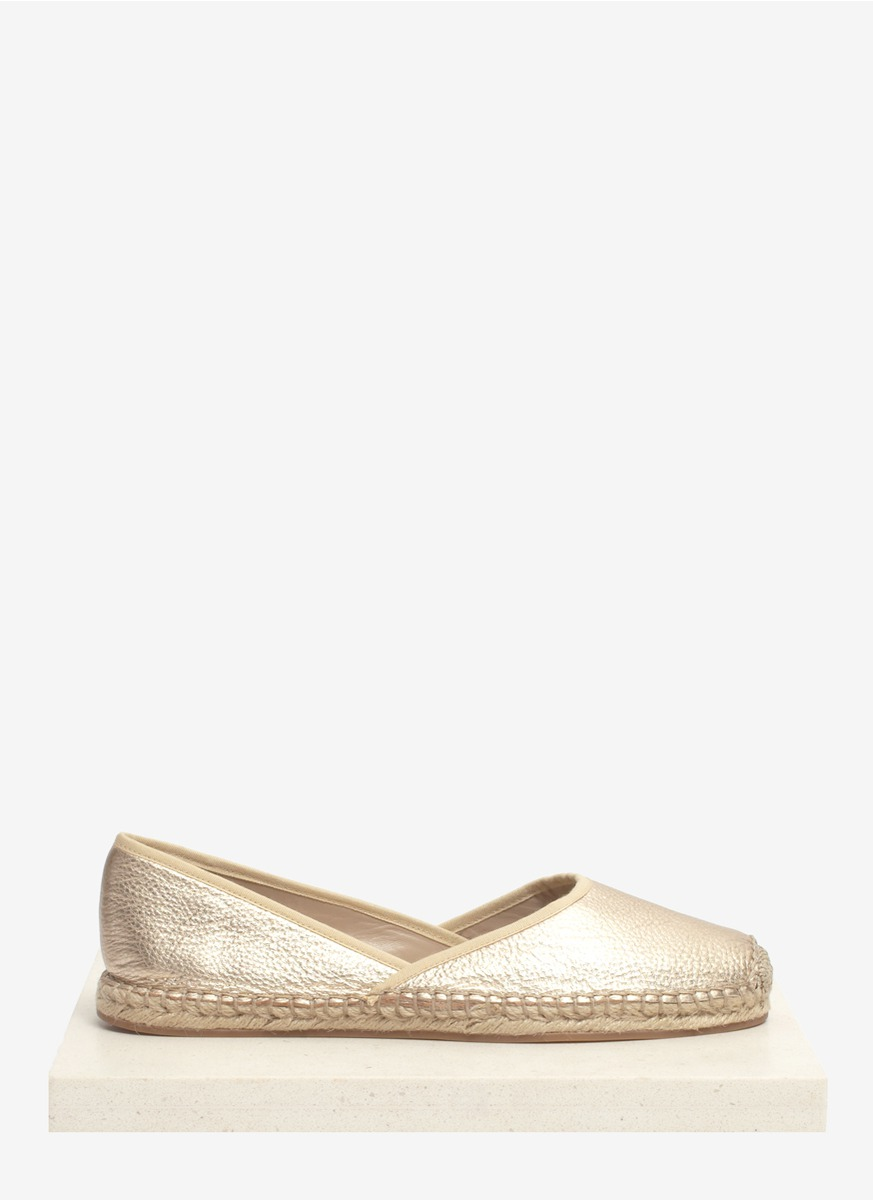 kors by michael kors metallic leather espadrille slipons in gold lyst. Black Bedroom Furniture Sets. Home Design Ideas