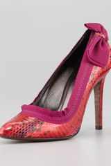 Lanvin Snakeskin Point Toe Side Bow Pumps - Lyst