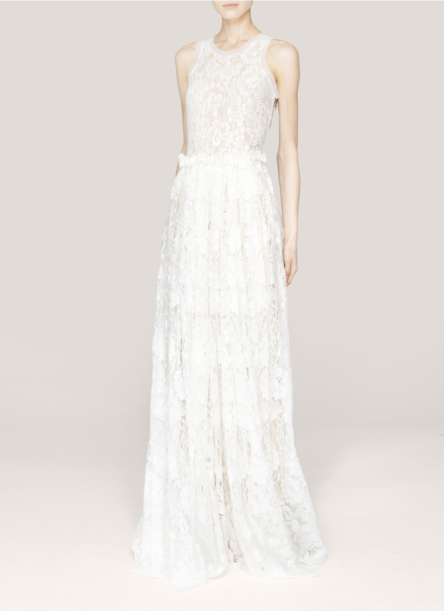 Lanvin Lace Wedding Gown In White Lyst