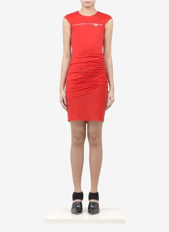 McQ by Alexander McQueen Zipfront Draped Jersey Dress - Lyst