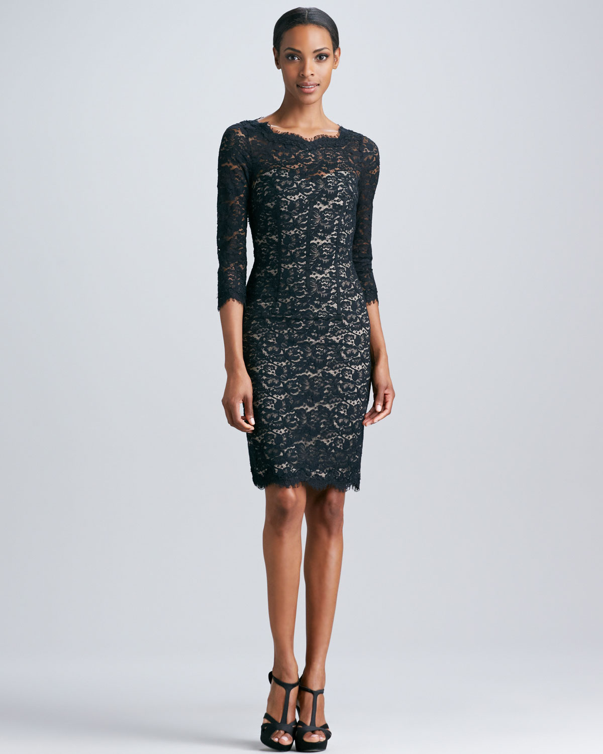 Lyst - Ml monique lhuillier Lace Cocktail Dress with Open Back in ...