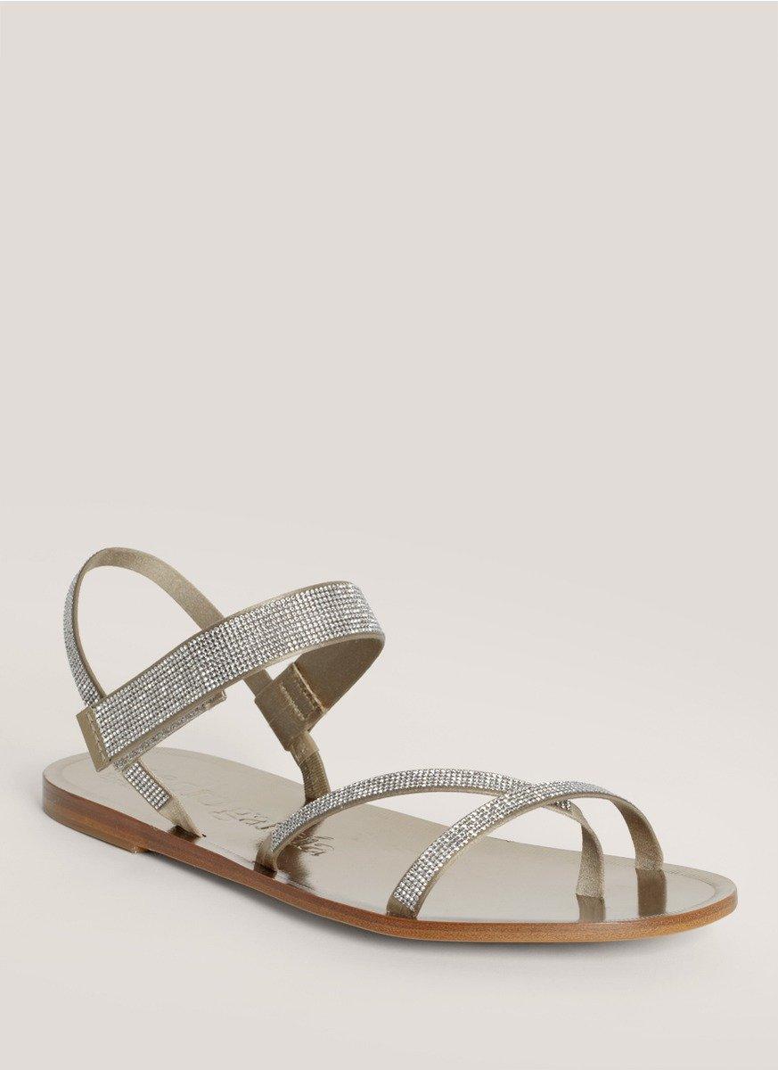 Pedro Garcia Ingrid Crystal Embellished Flat Sandals In