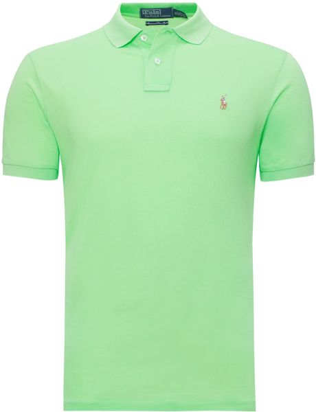 Polo Ralph Lauren Custom Fit Polo Shirt In Green For Men