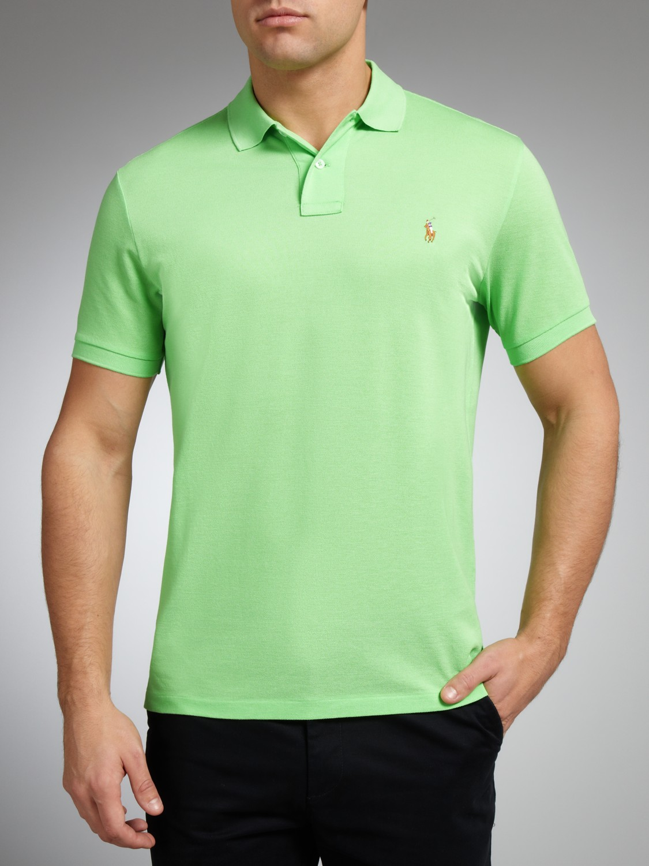Polo ralph lauren custom fit polo shirt in green for men for Polo ralph lauren custom fit polo shirt