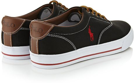 polo ralph lauren vaughn canvas sneaker in black for men lyst. Black Bedroom Furniture Sets. Home Design Ideas