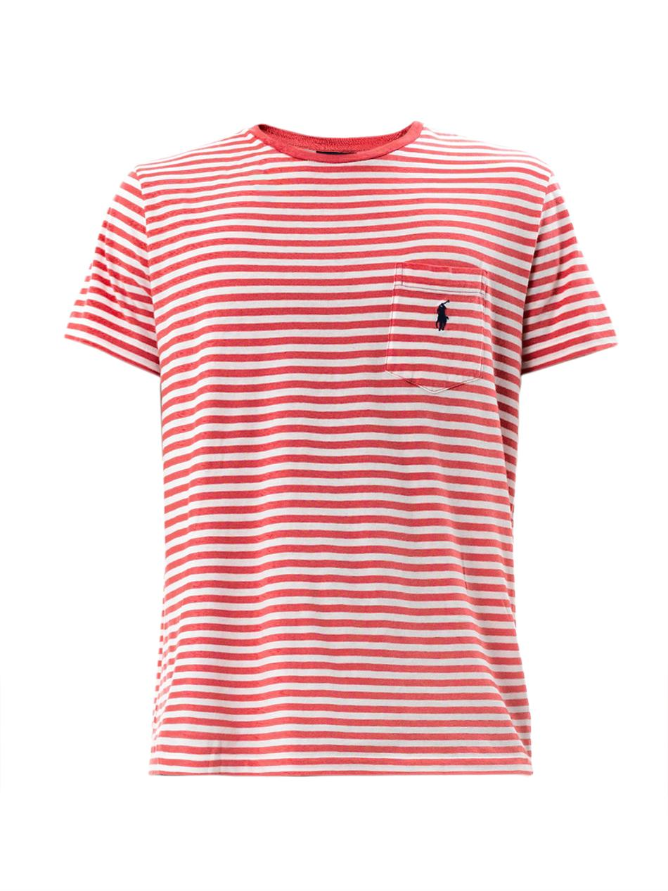 27ad1f79 Polo Ralph Lauren Stripe Pocket T-Shirt in White for Men - Lyst