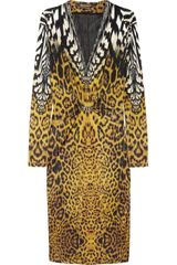 Roberto Cavalli Animalprint Stretchsatin Dress - Lyst