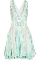 Roberto Cavalli Printed Embellished Silk Chiffon Dress - Lyst
