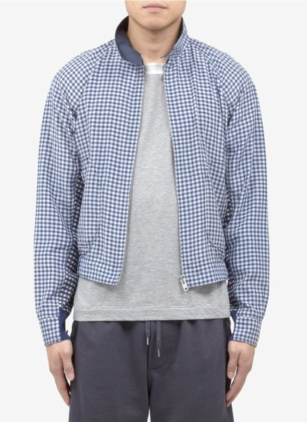Sacai Gingham Contrast Jacket In Blue For Men Blue And