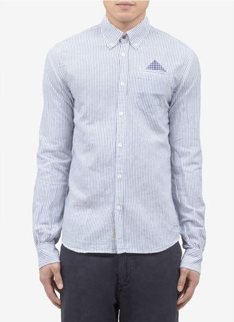 Scotch & Soda Cotton Linen Striped Shirt - Lyst