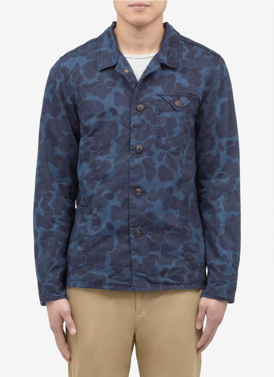 scotch soda camoprint jacket in blue for men blue and. Black Bedroom Furniture Sets. Home Design Ideas
