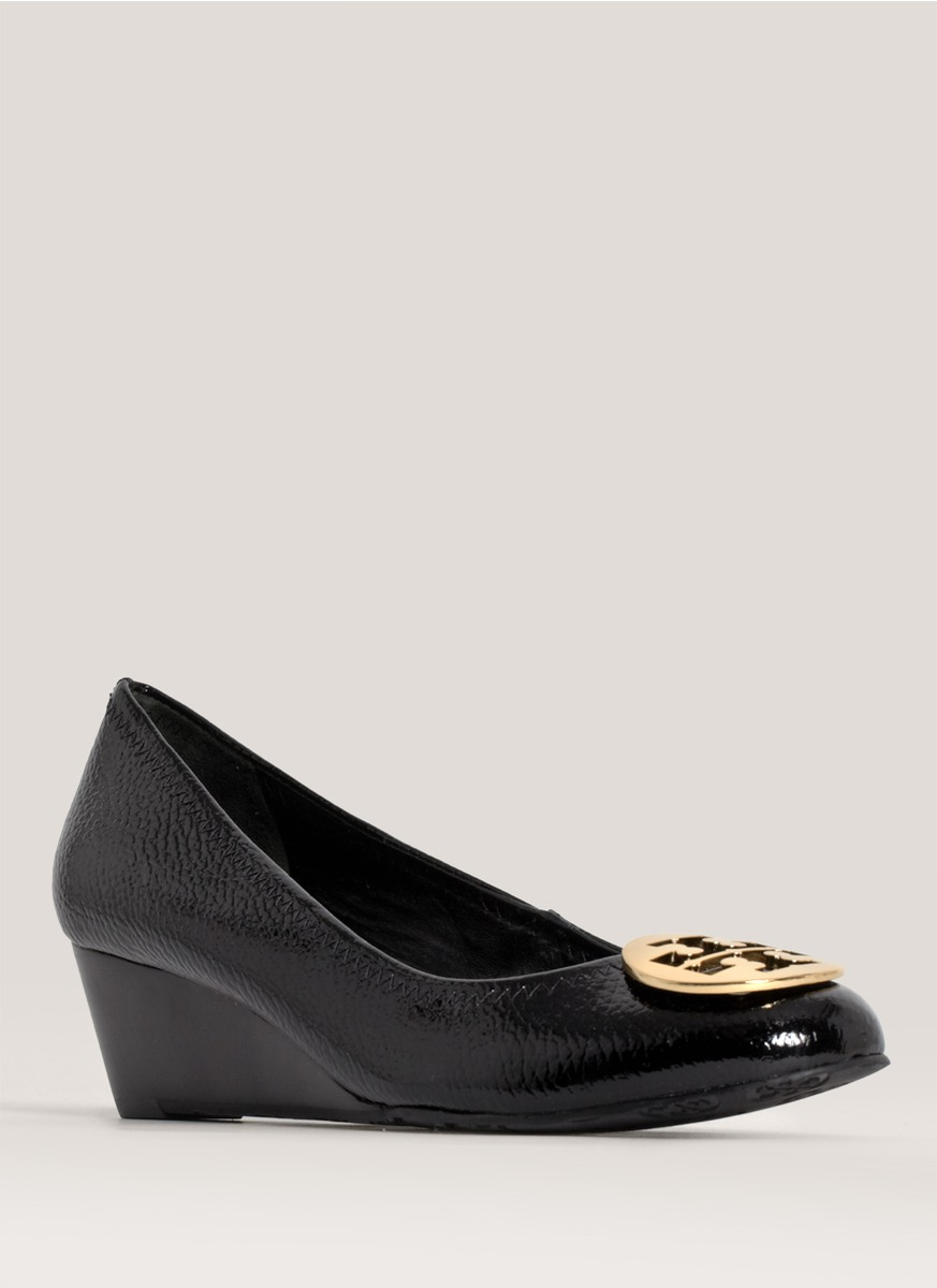 747847a28eb05 Lyst - Tory Burch Molly Patent-leather Wedges in Black