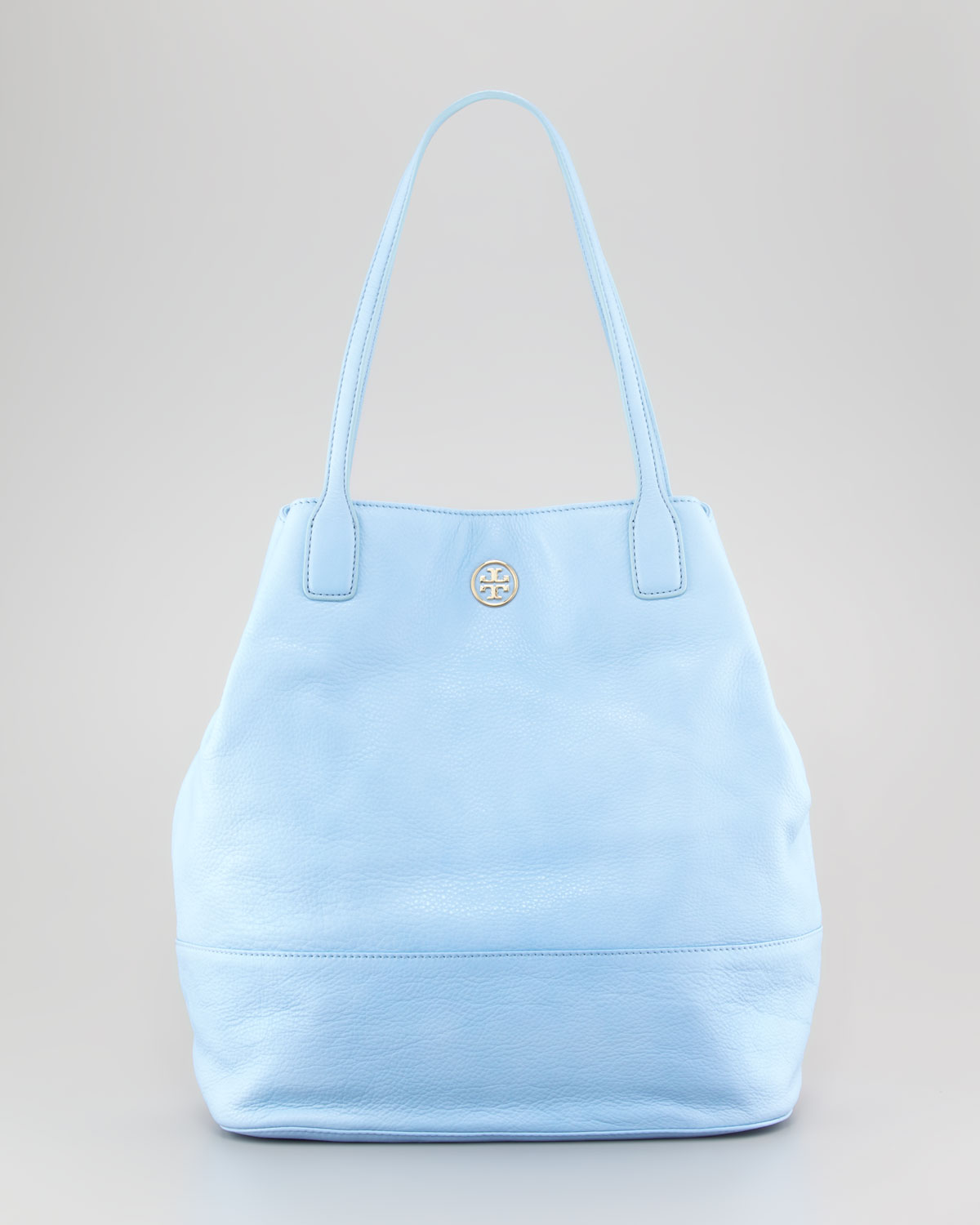 Tory burch Michelle Pebbled Leather Tote Bag Light Blue in Blue | Lyst
