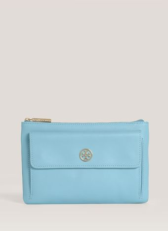 Tory Burch Robinson Leather Zip Pouch - Lyst