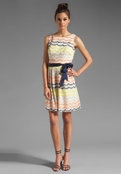 Trina Turk Scallop Fringe Lace Heights Dress In Multicolor