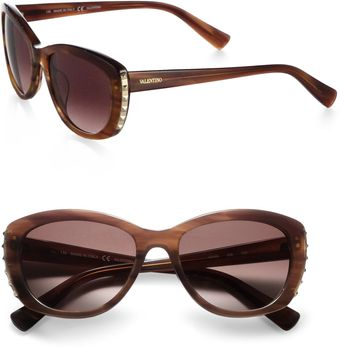 Valentino Metal Studded Oval Sunglasses - Lyst