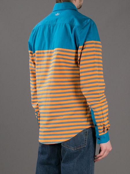 Orange Striped Shirt Dress Shirt in Orange For