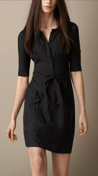 Burberry Brit Silk Shirt Dress - Lyst