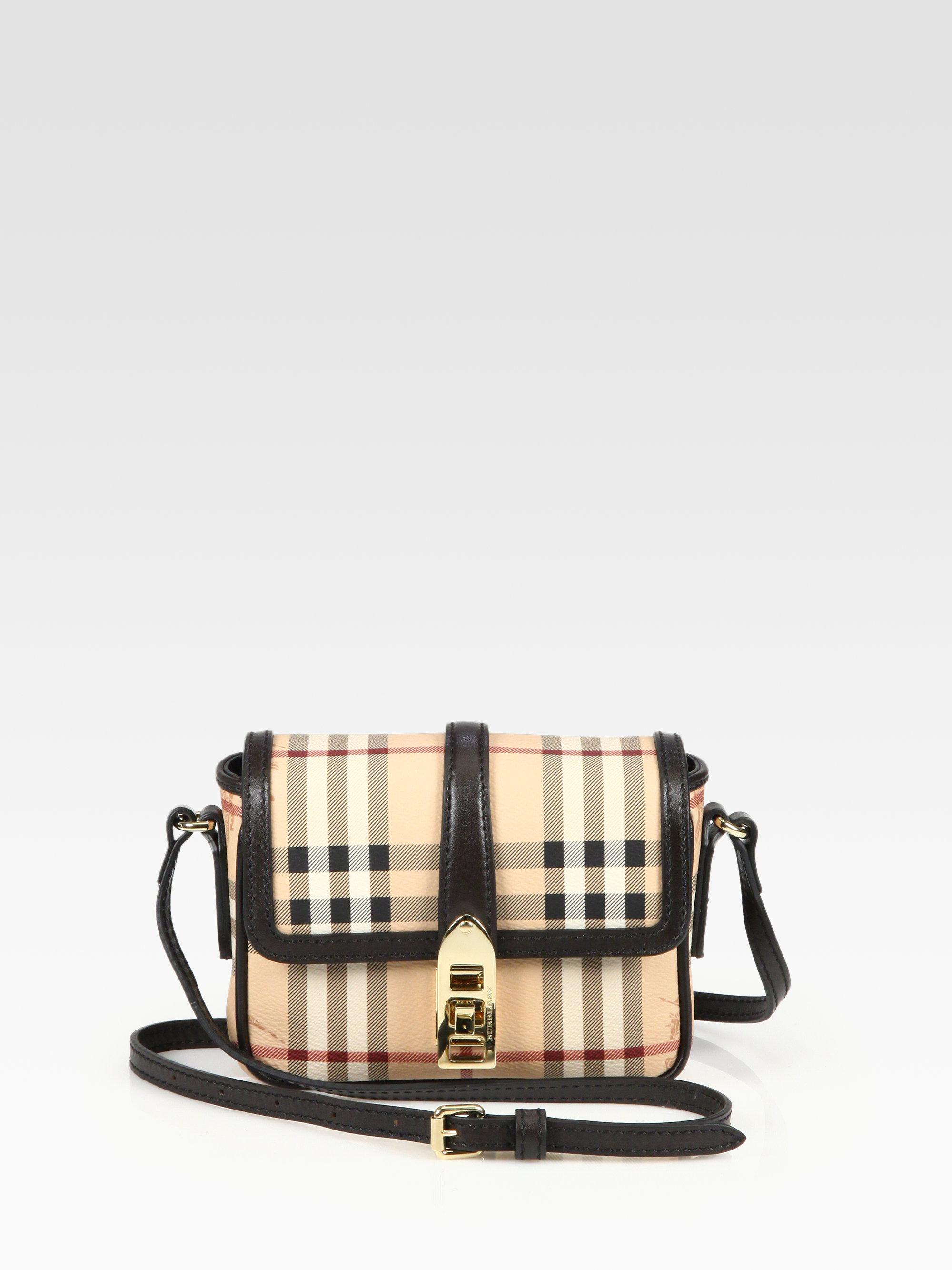46ec84184308 Burberry Berkeley Coated Canvas Haymarket Crossbody Bag in Brown - Lyst
