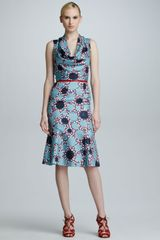 Carolina Herrera Printed Silk Cowlneck Dress - Lyst