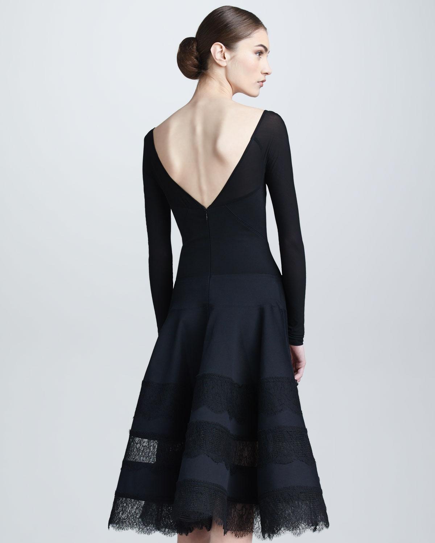Donna Karan Lace Jersey Longsleeve Dress In Black Lyst