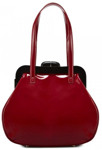 Lulu Guinness Red Patent Leather Mid Pollyanna - Lyst
