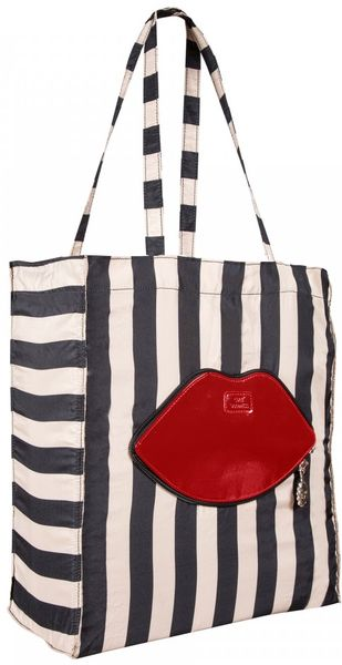 Lulu Guinness Striped Foldaway Red Lips Tote - Lyst
