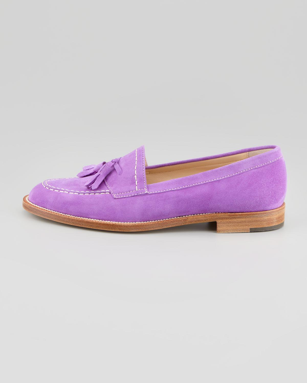 Manolo Blahnik Aldena Tasseled Suede Loafer Lavender In Purple For Men Lyst