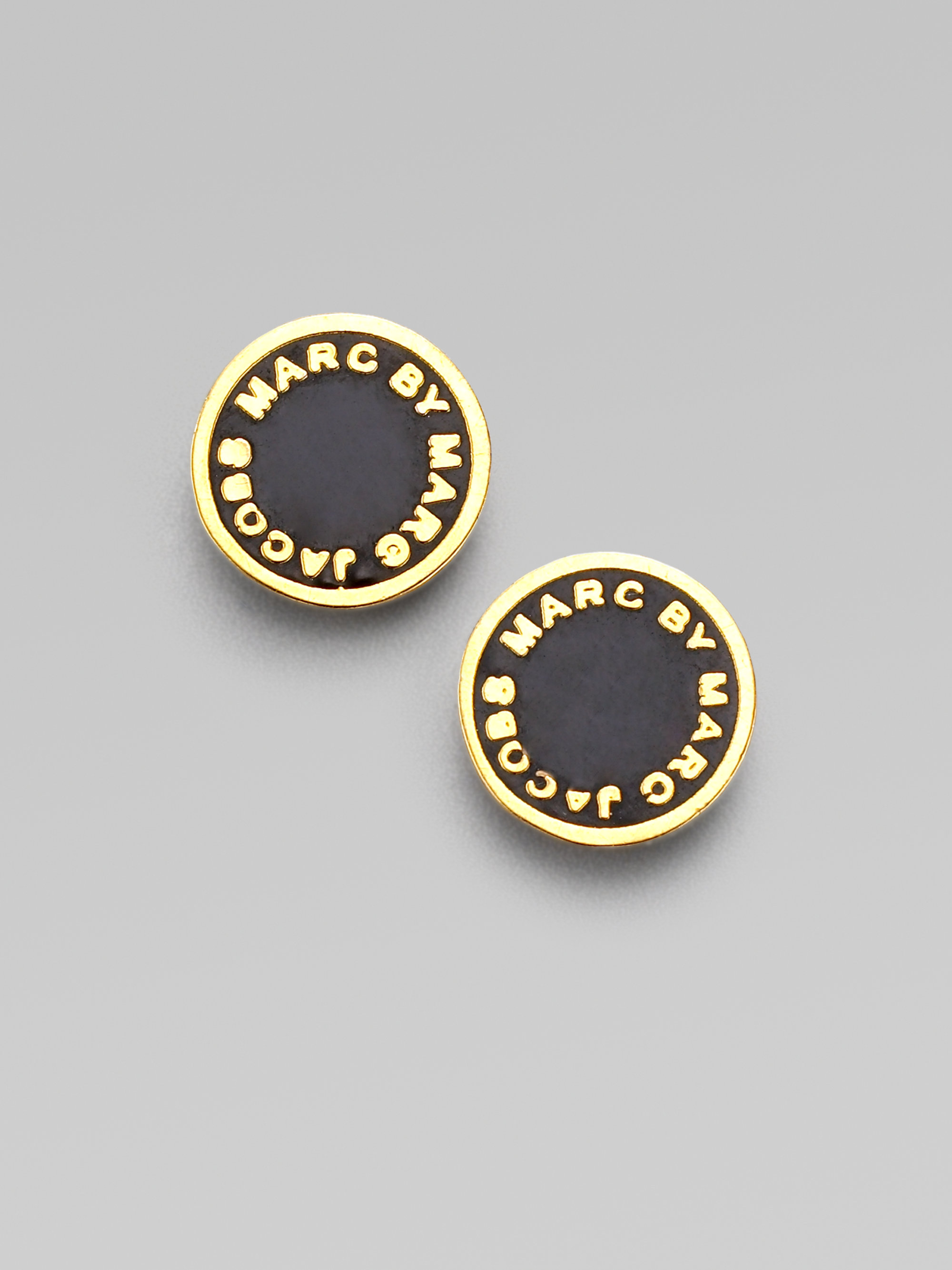 Lyst Marc By Jacobs Enamel Logo Disc Stud Earrings In Black