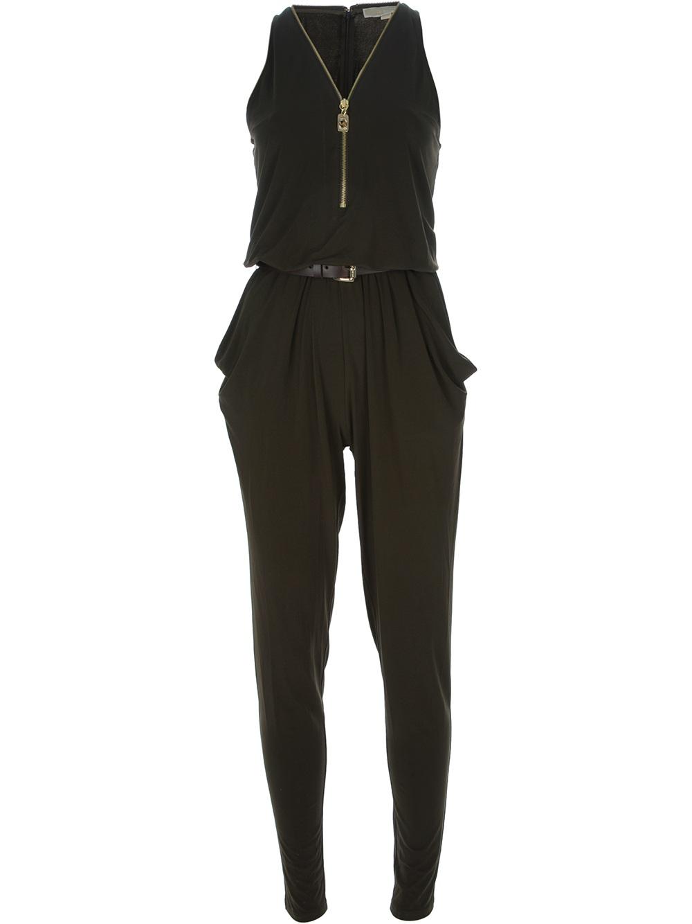 michael michael kors belted jumpsuit in green lyst. Black Bedroom Furniture Sets. Home Design Ideas
