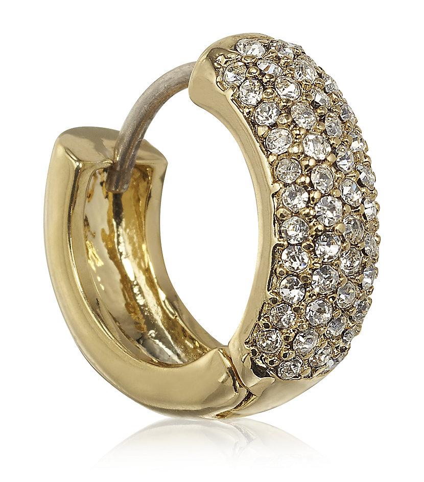 michael kors pav 227 huggie earrings in white lyst