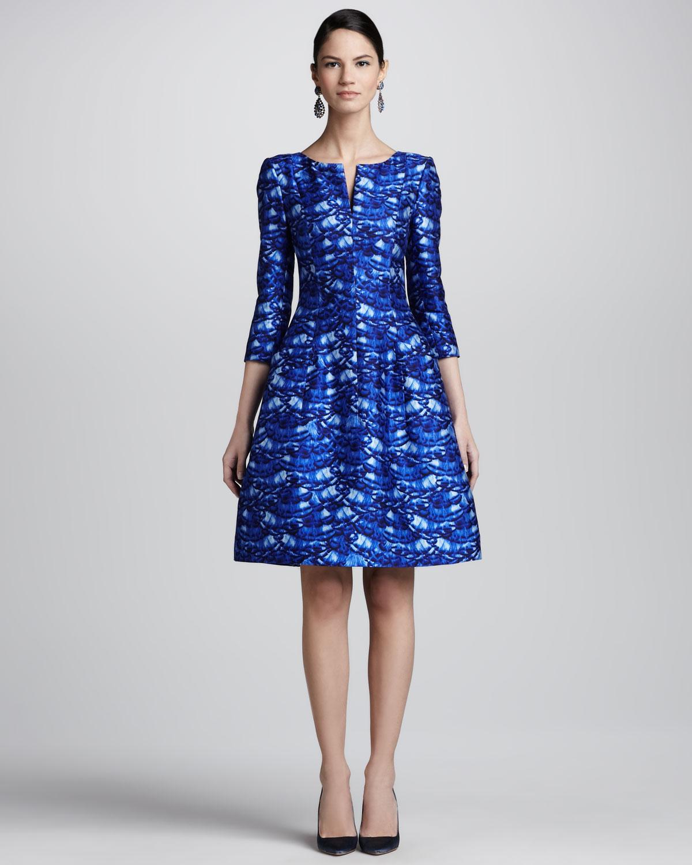 Oscar De La Renta Darted Featherprint Dress In Blue Lyst