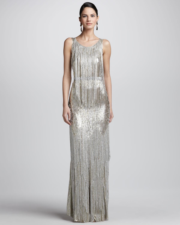 Cheap Sale Wholesale Price Oscar De La Renta Fringed Sequined Gown