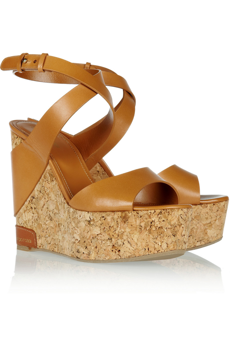 923746c6c11 Lyst - Sergio Rossi Leather and Cork Wedge Sandals in Brown
