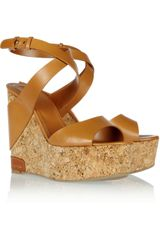 Sergio Rossi Leather and Cork Wedge Sandals