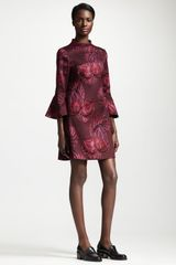 Stella McCartney Trumpet Sleeve Flower Jacquard Dress - Lyst