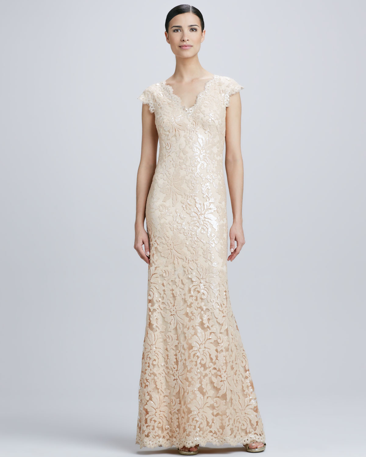 Lyst - Tadashi Shoji Sequined Lace V-neck Gown in Natural