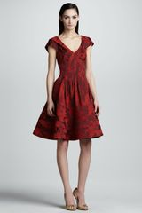 Zac Posen Floral Jacquard Aline Dress Cherry - Lyst