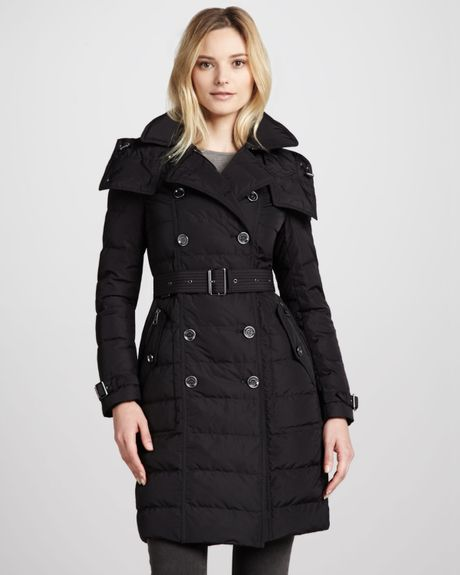 Burberry Brit Belted Puffer Trenchcoat In Black Lyst