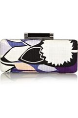 Diane Von Furstenberg Tonda Printed Basketweave Cotton Clutch - Lyst
