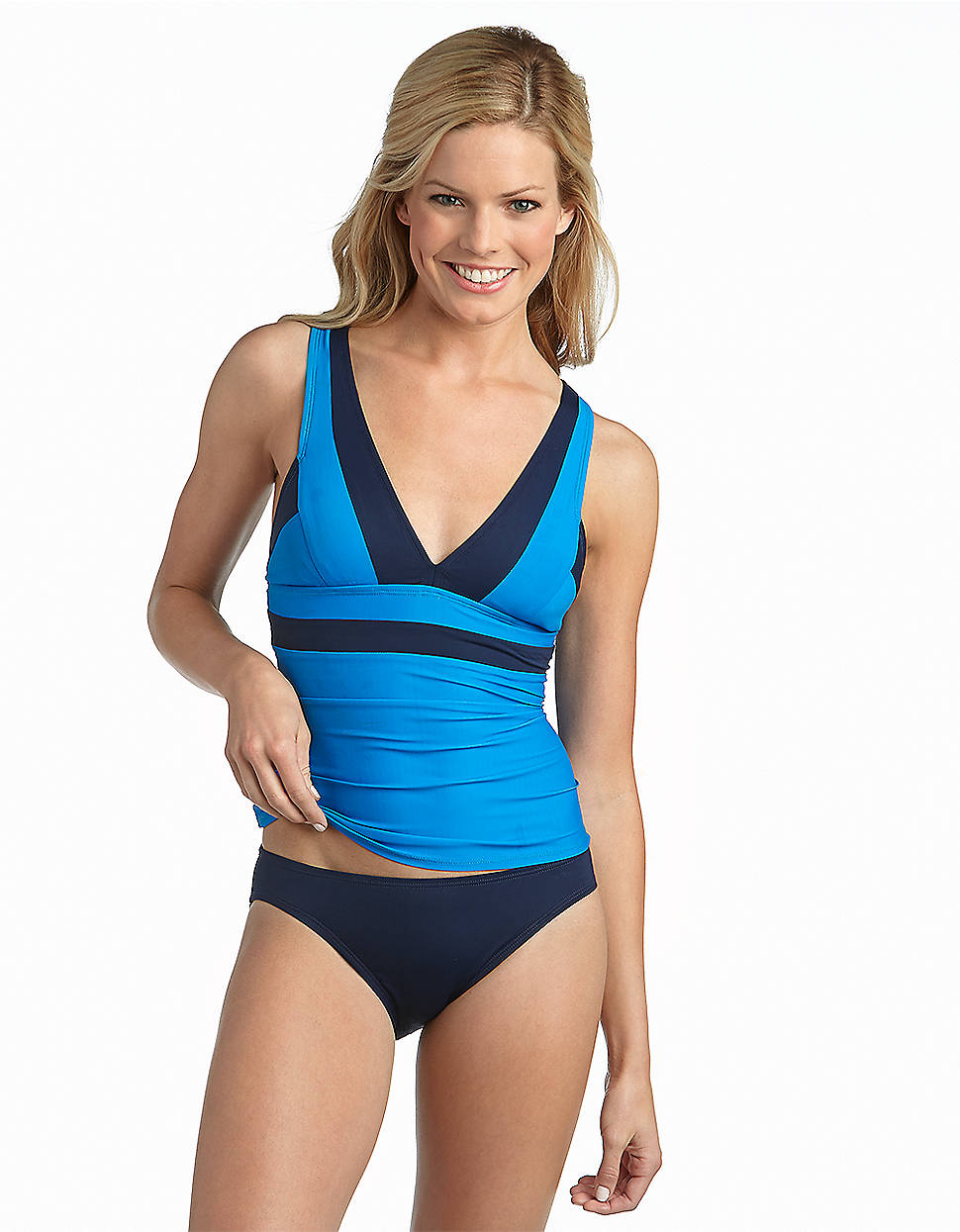 e408b909a31d6 Lyst - DKNY Colorblock Tankini Swim Top in Blue