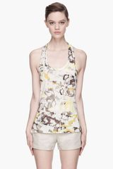Edun Yellow Floral Print Hemp Blend Military Strap Tank - Lyst