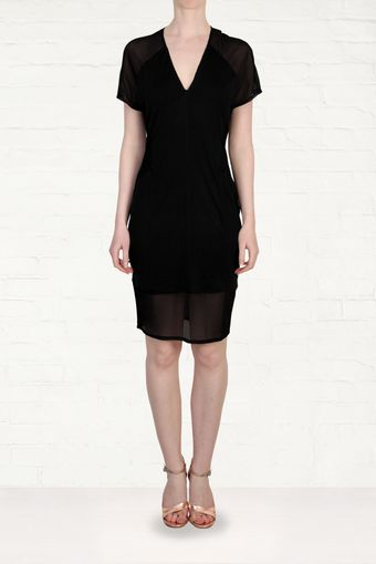 Helmut Lang Helmut Lang Black Sheer Chiffon and Jersey Dress - Lyst