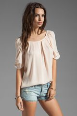 Joie Eleanor Matte Silk Top in Soft Pink - Lyst