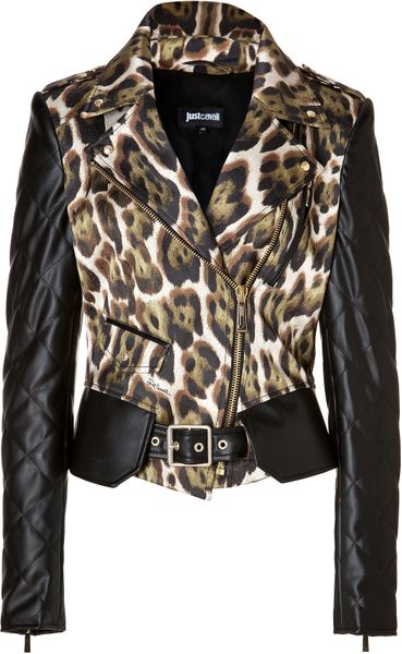 Just Cavalli Faux Leather Animal Print Biker Jacket In