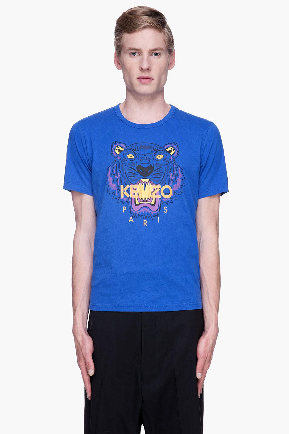 kenzo blue tiger logo t shirt in blue for men lyst. Black Bedroom Furniture Sets. Home Design Ideas