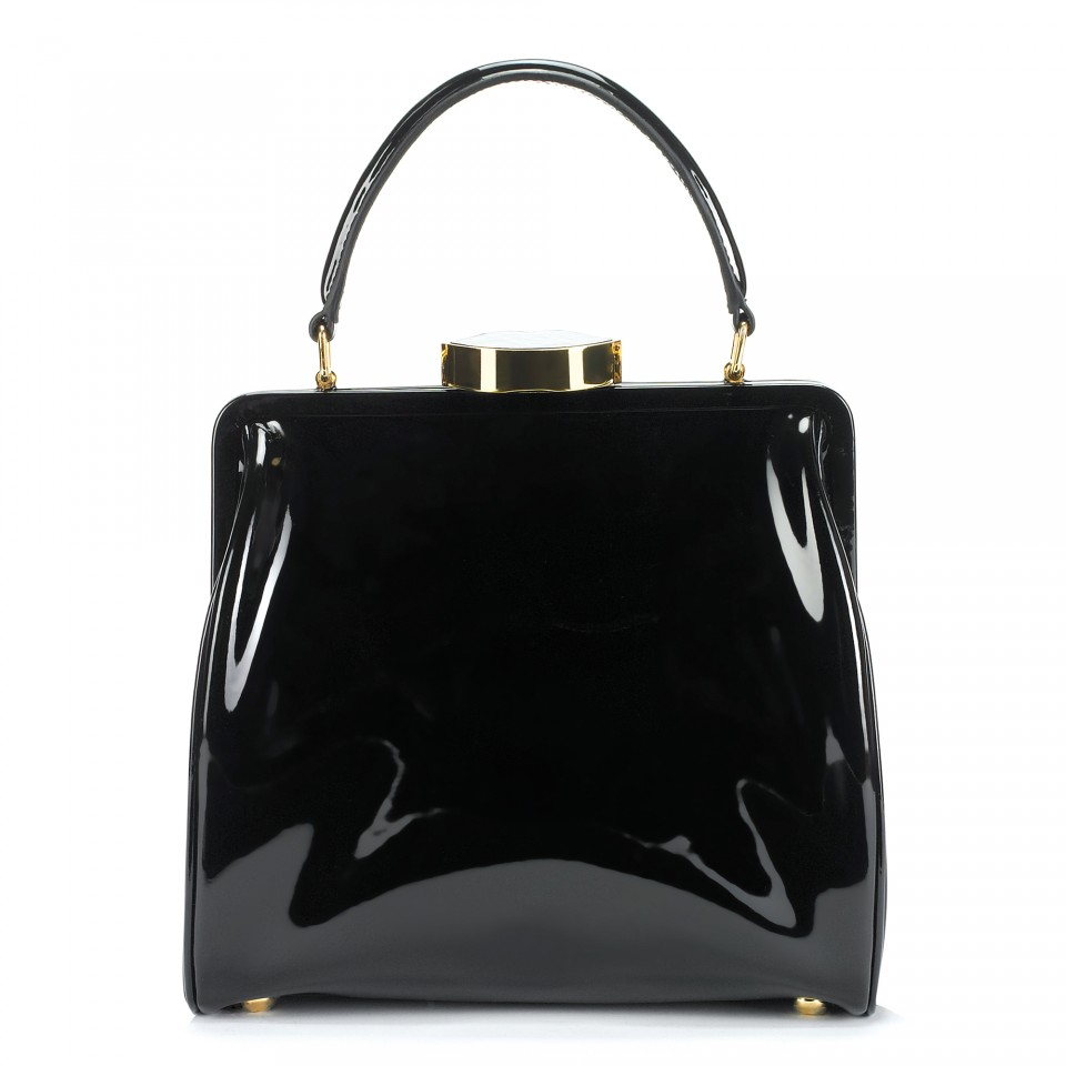 Lulu guinness Black Patent Leather Small Eva in Black | Lyst