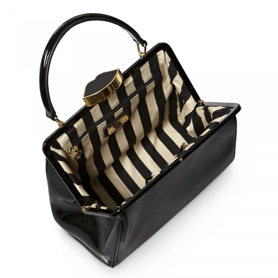 01ffd34009d Lyst lulu guinness black patent leather small eva in black jpg 960x960 Lulu  guinness eva